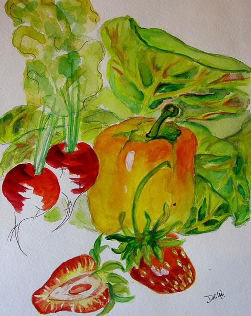 Art: Organic Vegetables and Strawberries by Artist Delilah Smith