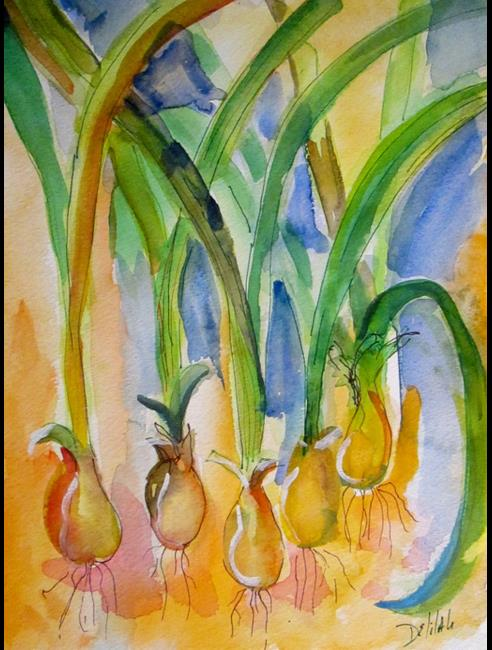 Art: Green Onions on Orange by Artist Delilah Smith