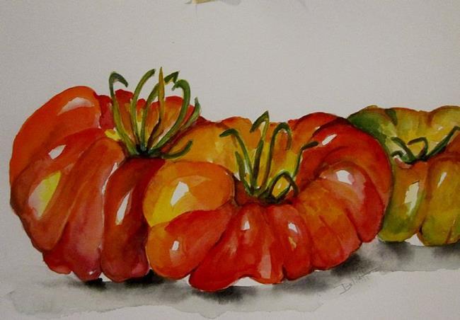 Art: Three Heirloom Tomatos by Artist Delilah Smith