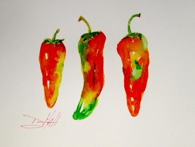 Art: Three Hot Peppers by Artist Delilah Smith