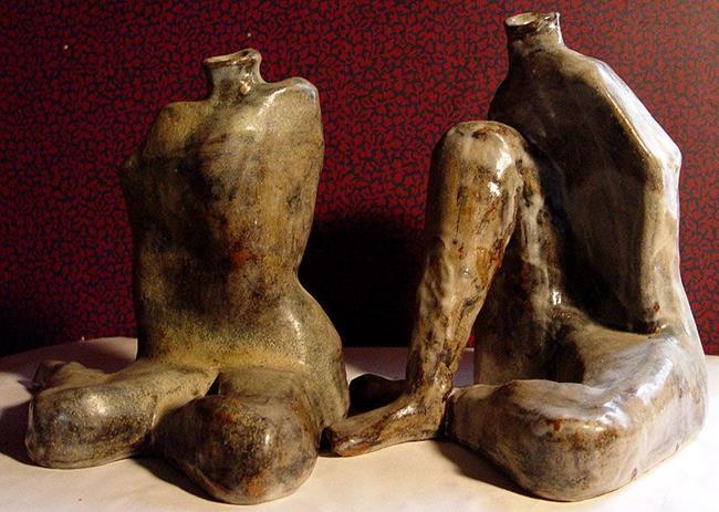Art: Found Leg Pots by Artist Dawn Lee Thompson
