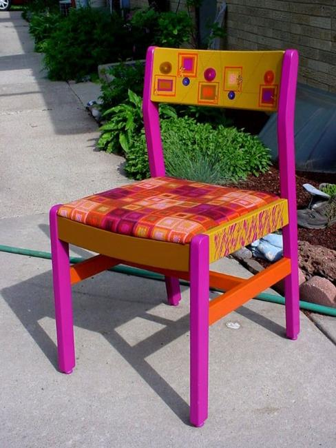 Art: Squares Chair by Artist Vicky Helms