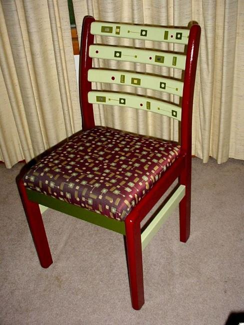 Art: Green Square Chair SOLD by Artist Vicky Helms