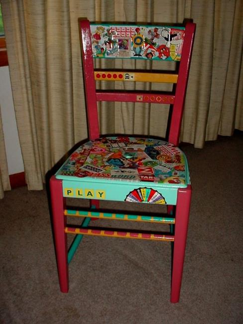 Art: TIME TO PLAY chair SOLD by Artist Vicky Helms