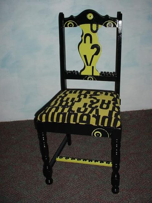 Art: The Black / Green Chair SOLD by Artist Vicky Helms