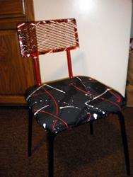 Art: Red/Black Abrstract Chair by Artist Vicky Helms
