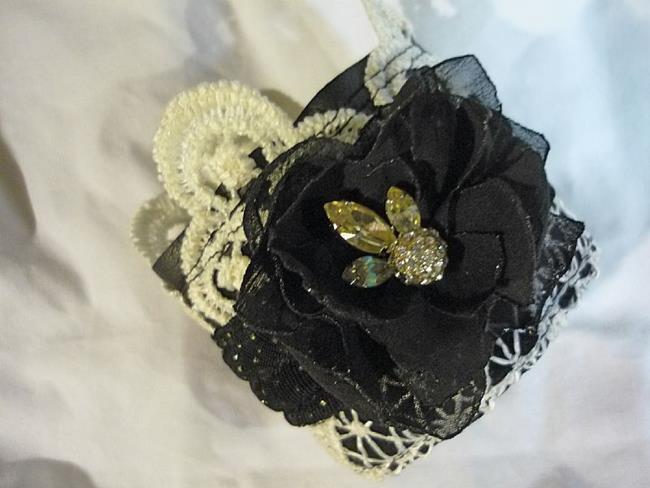 Art: BLACK FLOWER CUFF by Artist Vicky Helms
