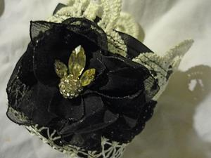 Detail Image for art BLACK FLOWER CUFF