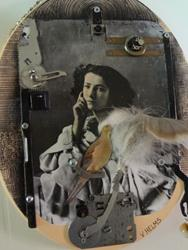 Art: Sarah with Mourning Dove Collage detail by Artist Vicky Helms