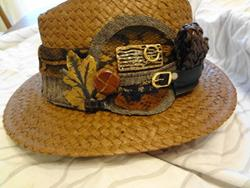 Art: Brown Straw Hat with leather buttons by Artist Vicky Helms