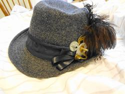 Art: Gray Tweed steampunk Hat by Artist Vicky Helms