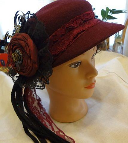 Art: RED SPIRAL HAT by Artist Vicky Helms