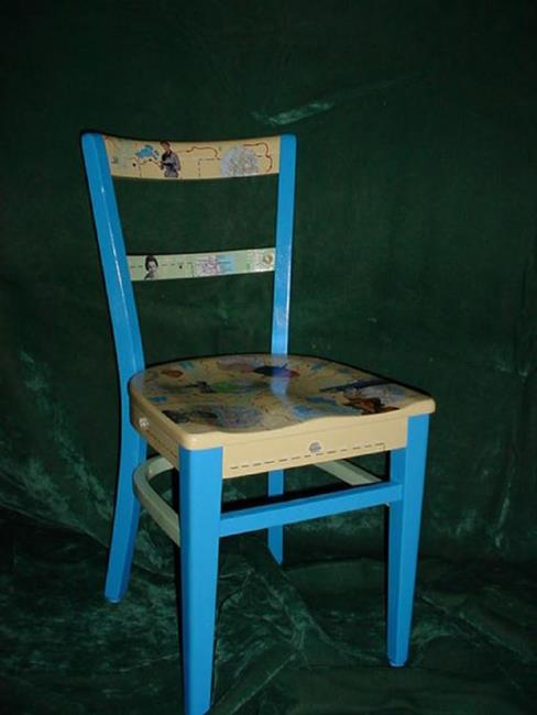 Art: Map Chair SOLD by Artist Vicky Helms