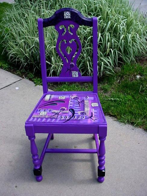 Art: Stick People Chair SOLD by Artist Vicky Helms