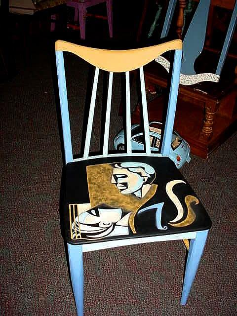 Art: Faces Chair (BOUGHT BY GALLERY OWNER) by Artist Vicky Helms