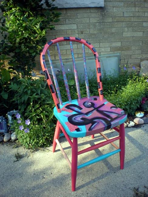 Art: Grafitti Chair by Artist Vicky Helms