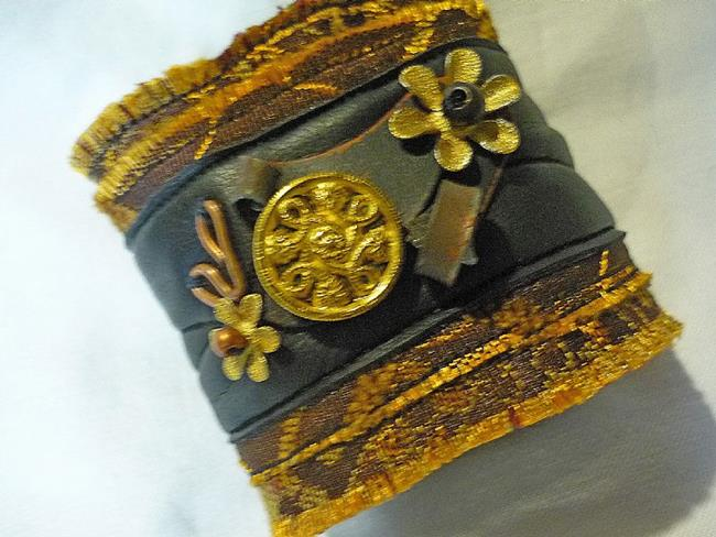 Art: Fabric Rich Cuff by Artist Vicky Helms