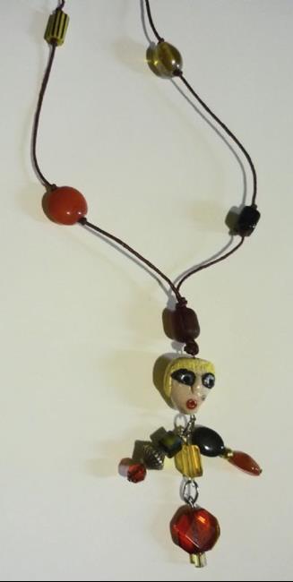 Art: Red Body Girl Necklace by Artist Vicky Helms