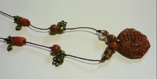 Art: Maroon Necklace by Artist Vicky Helms