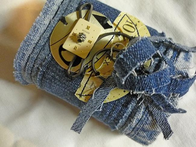 Art: Jean Punk Cuff by Artist Vicky Helms