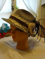Art: PLAID HAT WITH LEATHER by Artist Vicky Helms