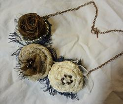Art: BRONZE BEAUTY FABRIC NECKLACE by Artist Vicky Helms