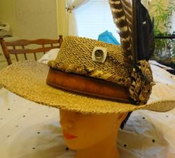Art: Leather Band hat by Artist Vicky Helms
