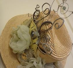 Art: STRAW HAT WITH GREEN FLOWERS by Artist Vicky Helms