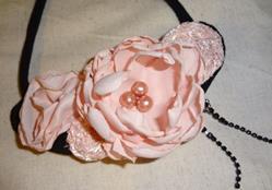 Art: Pink Rose Necklace by Artist Vicky Helms