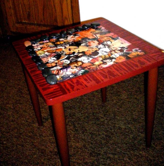 Art: Faces Table SOLD by Artist Vicky Helms