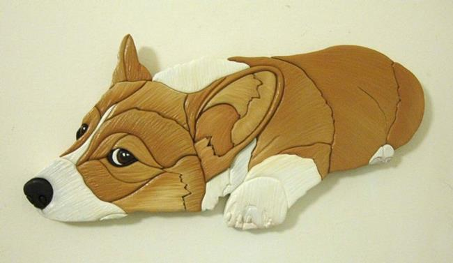 Art: CORGI  DOG WATCHING YOU ORIGINAL PAINTED INTARSIA ART by Artist Gina Stern