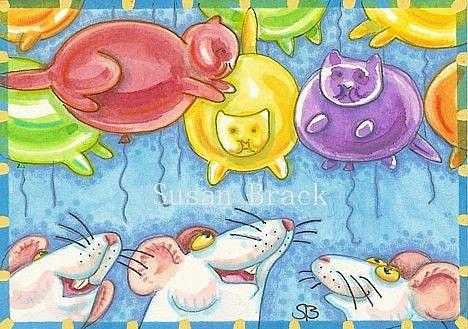 Art: MICE LOVE CAT BALLOONS by Artist Susan Brack