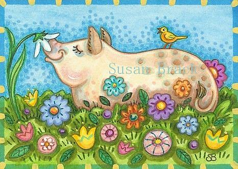 Art: PIG AND POSIES by Artist Susan Brack