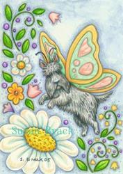 Art: SCOTTY IN MY GARDEN by Artist Susan Brack
