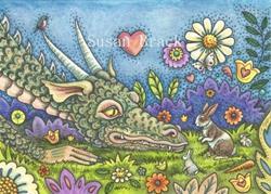 Art: DRAGON ON THE BUNNY TRAIL by Artist Susan Brack