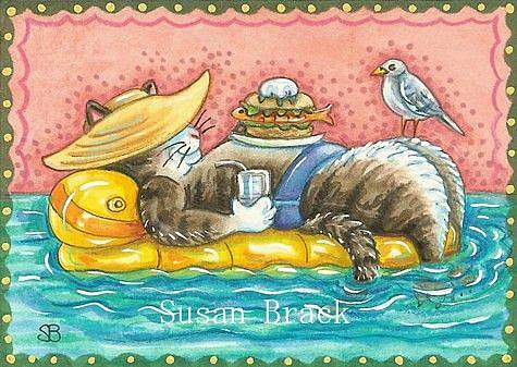 Art: DAY AT THE BEACH SERIES Always A COOL CAT by Artist Susan Brack