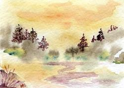 Art: Foggy Pond ACEO watercolor by Artist Hannah Clements