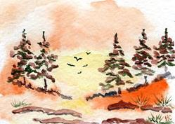 Art: Evening Flight ACEO watercolor by Artist Hannah Clements