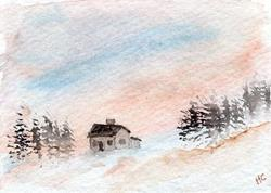 Art: Winter Peace ACEO watercolor by Artist Hannah Clements