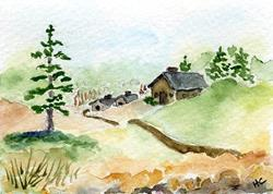 Art: Cabin ACEO watercolor by Artist Hannah Clements