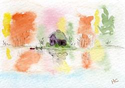 Art: Autumn Reflection ACEO watercolor by Artist Hannah Clements