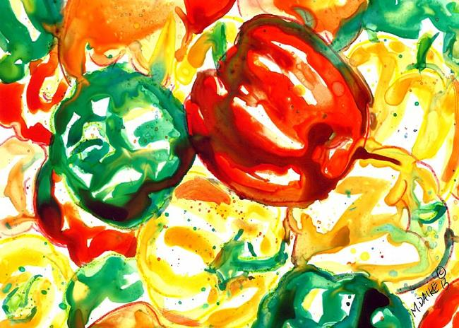 Art: Peppers in Abstract by Artist Melinda Dalke