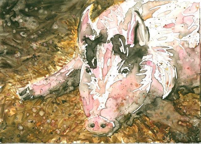 Art: Hog in Hay by Artist Melinda Dalke