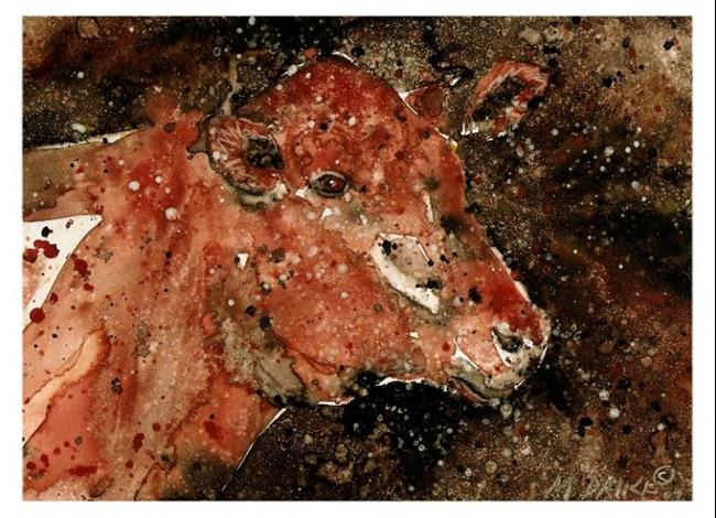 Art: Impression of a Cow by Artist Melinda Dalke