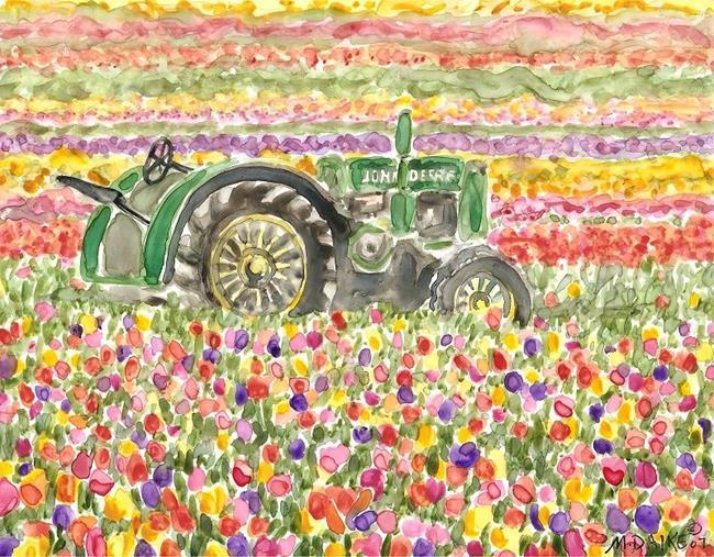Art: Oregon Tulip Field and Tractor by Artist Melinda Dalke