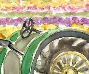 Detail Image for art Oregon Tulip Field and Tractor