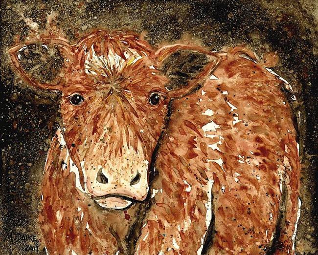 Art: Impression of a Brown Cow 2 by Artist Melinda Dalke
