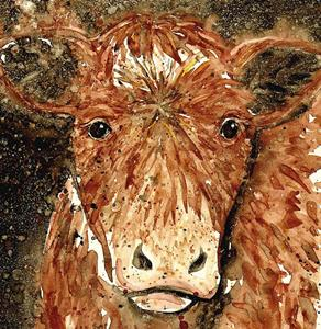 Detail Image for art Impression of a Brown Cow 2