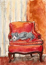 Art: Afternoon Nap in Orange Chair by Artist Melinda Dalke