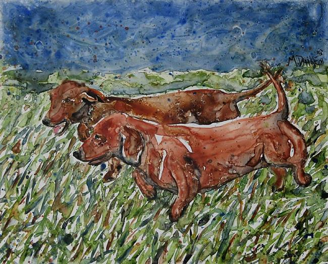 Art: Dachshund Run by Artist Melinda Dalke